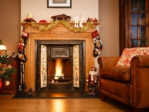 christmas, Room, burner chimney, christmas tree