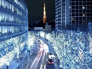 Christmas, trees, viewes, Tokio, decoration, night