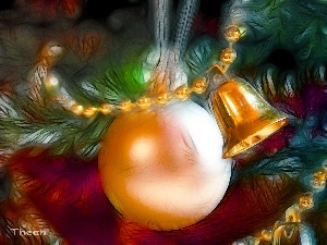christmas, bauble, Bell, God, Fractalius, birth