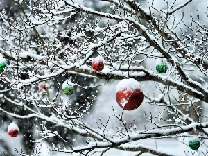 Christmas, baubles, Snowy, winter, trees