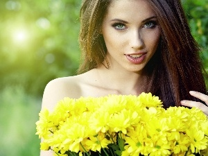 Yellow, Chrysanthemums, Women