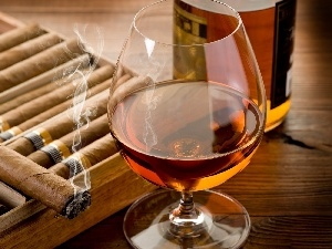Whisky, Cigars, glass