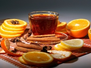 cinnamon, Lemon, orange, cup, carambola, tea