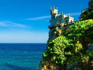 rocks, cliff, Castle