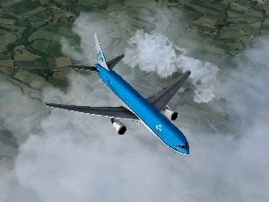 clouds, by, Boeing 767, KLM