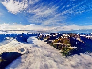 Over the Fjords, rays, sun, Mountains, Aerial View, clouds