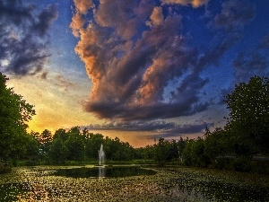clouds, viewes, fountain, trees