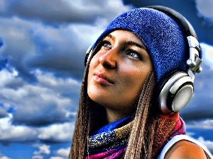 HEADPHONES, clouds, girl