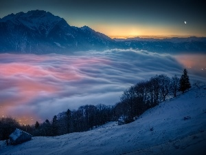 clouds, Mountains, Switzerland, Hill-side