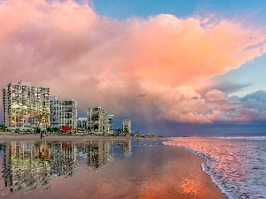 clouds, Beaches, Hotels, sea