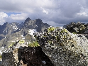clouds, rocks, Mountains, peaks