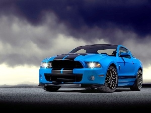clouds, GT-R500, Ford Mustang, Shelby