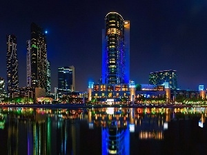Australia, clouds, skyscrapers, Brisbane, River, Town, night
