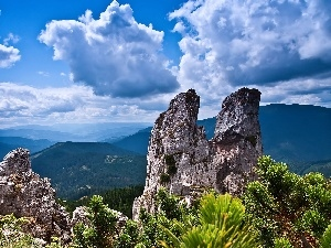 clouds, woods, rocks, Mountains