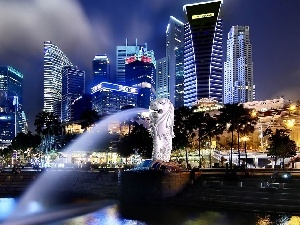 clouds, skyscrapers, Singapur, fountain