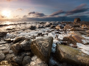 clouds, sun, sea, Stones, west