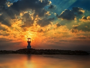 sun, clouds, sea, Lighthouse, rays, maritime, Island