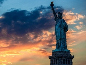 Przebijaj?ce, ligh, sun, luminosity, flash, statue, freedom, USA, clouds