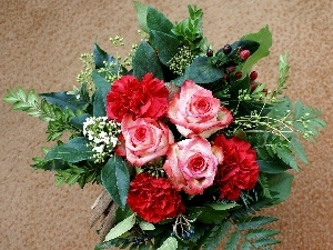 cloves, roses, bouquet, flowers
