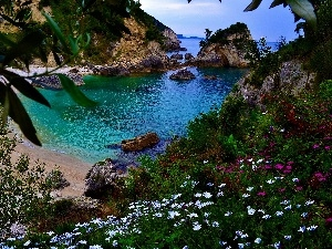 Coast, rocks, sea, Greece, Beaches