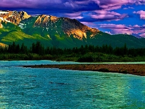 lake, Coast, Mountains