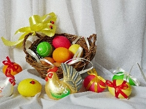 cocks, easter, basket, eggs