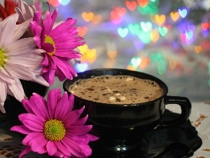 cup, coffee, gerberas