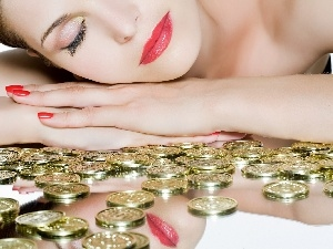 coins, Golden, Women, smiling