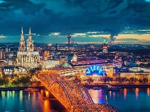 Cologne, panorama, bridge, Germany, River