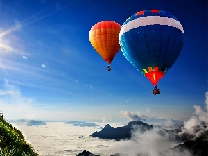 color, rays, sun, Mountains, Balloons, clouds