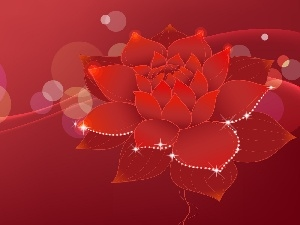 Colourfull Flowers, graphics, Red