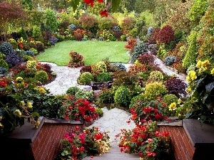 Colourfull Flowers, Garden, Stairs, color