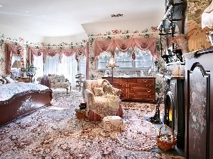 Curtains, commode, carpeting, Bedroom, burner chimney, bed, Armchair