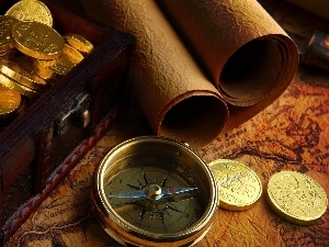 Maps, compass, coins