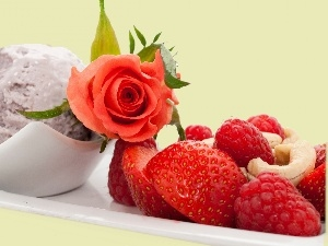 composition, rose, ice cream, Fruits