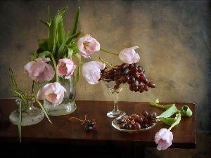 composition, Grapes, Pink, Tulips