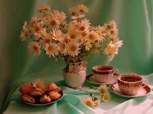 Cookies, tea, daisy, cups