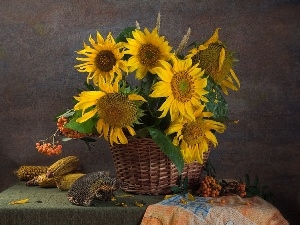 corn, Nice sunflowers, basket, wicker