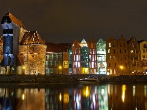 Night, Crane in Gdansk, port, Poland, Monument, Gda?sk