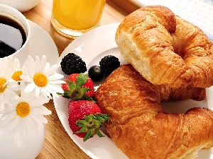 Fruits, croissants, coffee