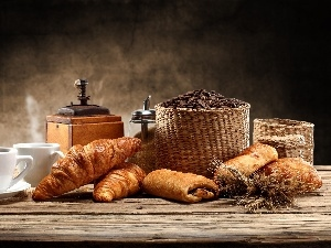 grains, croissants, coffee