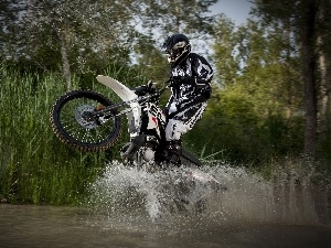 Cross, Motorcyclist, water, cane