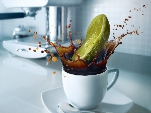 coffee, cucumber, cup