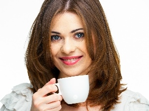 cup, Women, Beauty, coffee, smiling