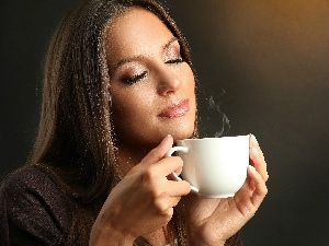 cup, make-up, dreamy, coffee, Women