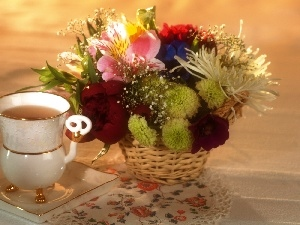 cup, basket, composition, Flowers