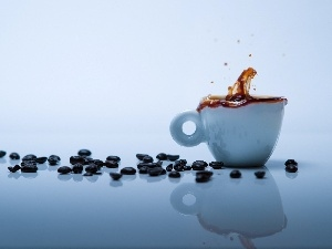 cup, blue, grains, splash, coffee