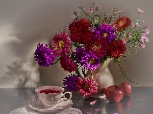cup, apples, bouquet, tea, Astr?w