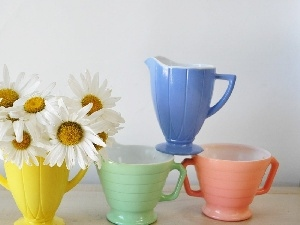cups, color, White, daisy