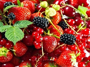 currants, blackberries, Fruits, strawberries